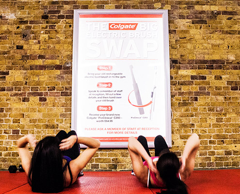 Colgate 6 sheet advertising in health club