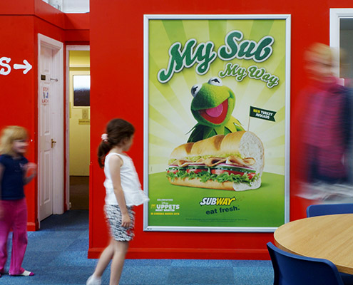 Subway 6 sheet advertising in play house