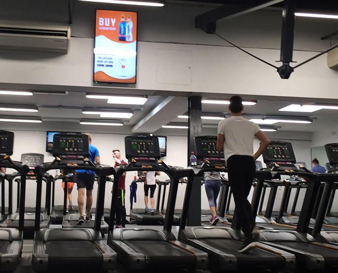 Lucozade D6 advertising to Health club, running machines