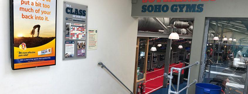 Voltarol D6 advertising in Soho Gyms, fitness