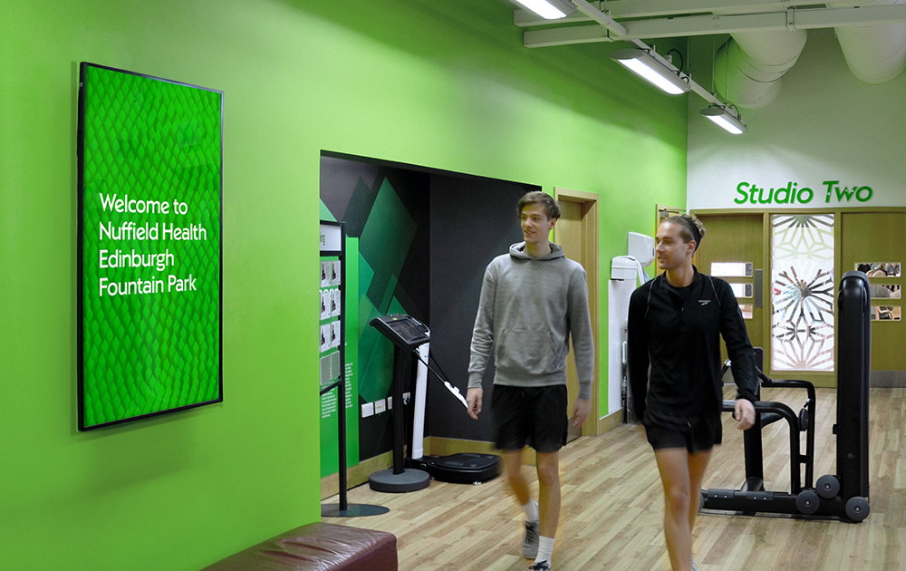 Nuffield Health Advertising Screen in Gym