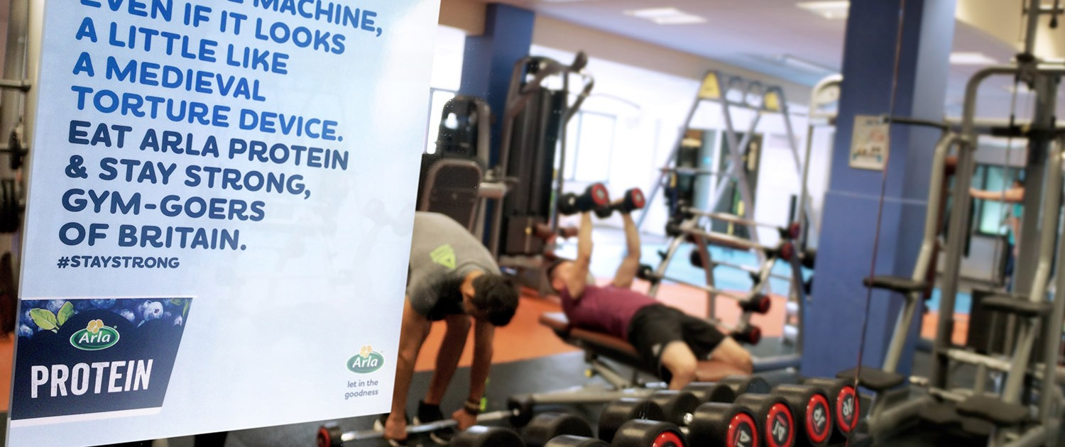 Arla ambient advertising in health club