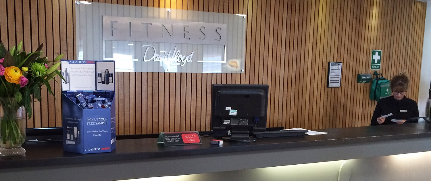 Clarins sampling at health club