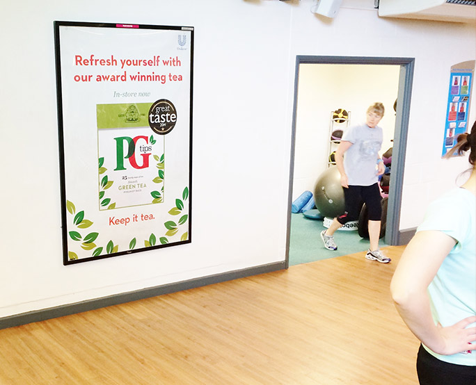 PG tips D6 advertising in health club