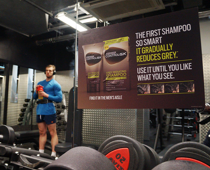 Just for men ambient advertising in gym
