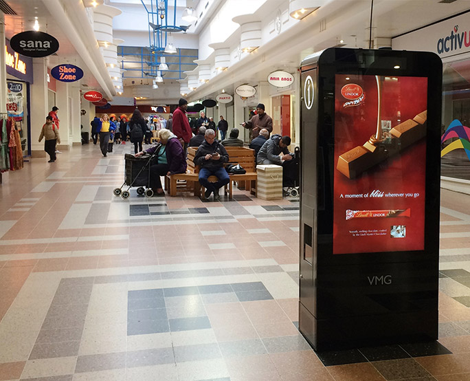 Lindt D6 advertising in shopping mall