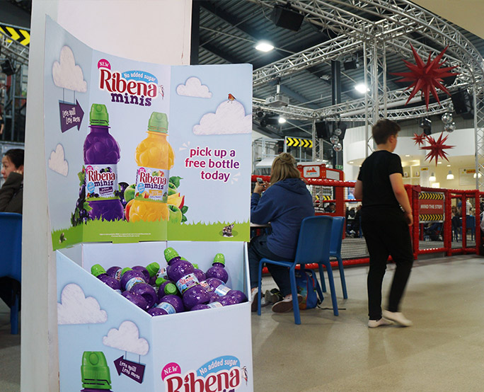 Ribena sampling in children's playhouse