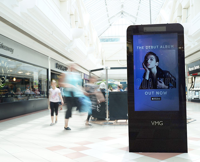 Dua Lipa D6 advertising to shoppers in shopping mall