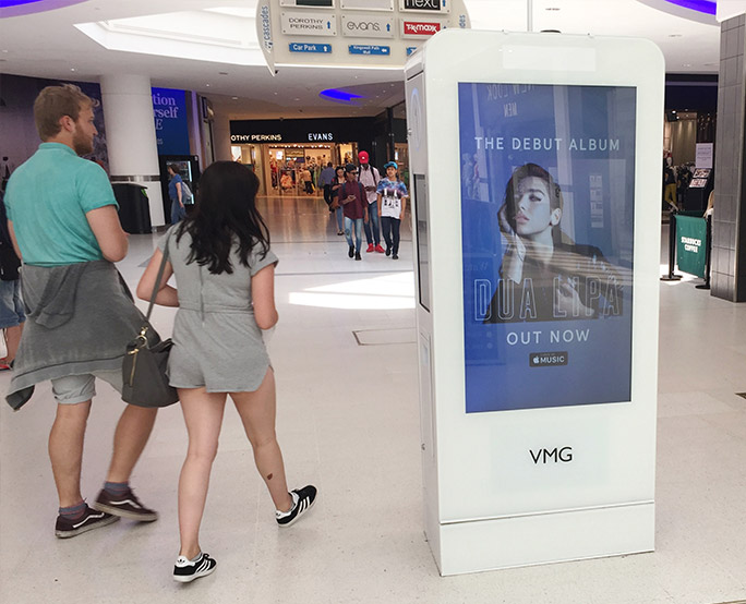 Dua Lipa D6 advertising in shopping mall