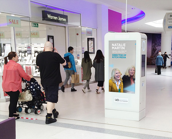Natalie Martin D6 advertising in shopping mall to passing shoppers