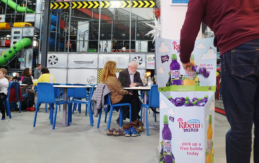 Ribena sampling for children, Playhouse,