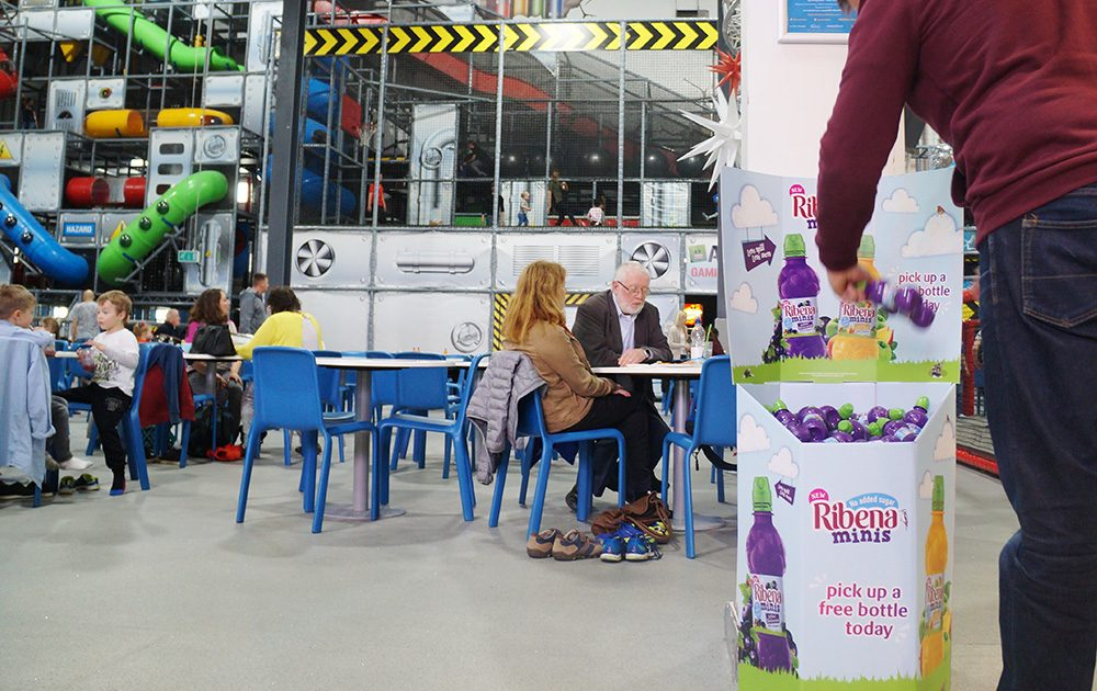 Playhouse advertising to families Ribena sampling